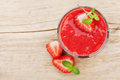 Strawberry Smoothie In A Glass Decorated With Mint Leaves On Rustic Background, Fresh Fruit Juice, Detox Food, Top View Stock Photos - 69695713