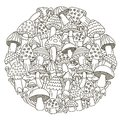 Circle Shape Pattern With Fantasy Mushrooms For Coloring Book Royalty Free Stock Photo - 69731775