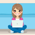 Teenager Sitting Floor With Laptop Stock Images - 69738794