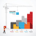 Infographic Template With Crane Building Blocks. Concept Vector Stock Photos - 69758513