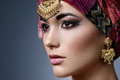 Beautiful Fashion East  Woman Portrait With Oriental Accessories Royalty Free Stock Image - 69769406
