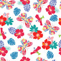 Background With Flower Hibiscus And Flying Butterflies Stock Photo - 69781310