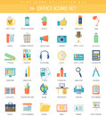 Vector Office Color Flat Icon Set. Elegant Style Design. Stock Image - 69787001