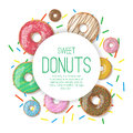 Circle Vector Banner With Donuts Illustration Isolated On The White Background. Doughnut Banner In Cartoon Style Royalty Free Stock Photography - 69814747