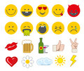 Emoticon Vector Icons Set With Thumbs Up, Chat And Heart Other Icon Royalty Free Stock Photos - 69816818