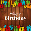 Happy Birthday Greeting Card With Gift Boxes Royalty Free Stock Image - 69824666