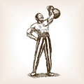 Strong Man With Kettlebell Sketch Vector Stock Photo - 69826110