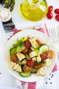 Salad With Cucumbers, Cherry Tomatoes, Feta Cheese Royalty Free Stock Photos - 69835428