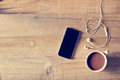 Top View Of Coffee, Mobile Phone On A Wooden Background Stock Photography - 69868882