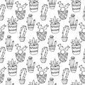 Cactus Seamless Pattern Illustration. Vector Succulent And Cacti Hand Drawn Set. In Door Plants In Pots. Stock Image - 69896291