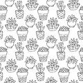 Cactus Seamless Pattern Illustration. Vector Succulent And Cacti Hand Drawn Set. In Door Plants In Pots. Stock Photography - 69896452
