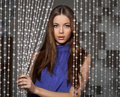 Beauty Portrait Of Attractive Woman With Bead Curtain Royalty Free Stock Photos - 69897288