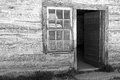 Black And White Log Cabin Stock Image - 69904411