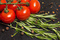 Branch Of Cherry Ripe Tomatoes, Fresh Rosemary, Allspice, Food Photography Royalty Free Stock Photos - 69906018