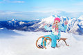 Happy Little Girl Sit On Sledge In Mountains Royalty Free Stock Photography - 69909767