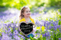 Little Girl In Bluebelss Flowers Royalty Free Stock Photography - 69910527
