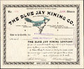 1896 THE BLUE JAY MINING COMPANY Stock Certificate - Cripple Creek, Colorado Royalty Free Stock Photography - 69920227