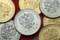 Coins Of Russia. Russian Double-headed Eagle Royalty Free Stock Photography - 69927247