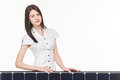 Woman With Solar Panel Royalty Free Stock Photo - 69927765