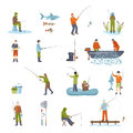 Fishing People Fish And Tools Icons Set Royalty Free Stock Images - 69928139