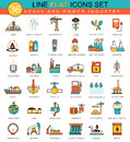 Vector Heavy And Power Industry Flat Line Icon Set. Modern Elegant Style Design  For Web. Stock Photography - 69929502