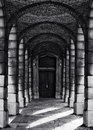 Corridor With Columns In Black And White Selenium Photo, Abstract Architectural Photo, Black And White Photo, Architecture Details Stock Photo - 69931490