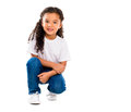 Smiling Little Cute Girl Knelted On One Knee Royalty Free Stock Images - 69935359