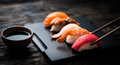 Close Up Of Sashimi Sushi Set With Chopsticks And Soy Royalty Free Stock Photo - 69935375