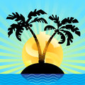 The Sun Dollar Rises Over A  Offshore Island. Financial Concept. Royalty Free Stock Photo - 69936235