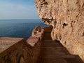 Staircase To The Neptune Cave In Alghero In Sardinia Royalty Free Stock Photography - 69956697