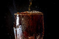Soda Large Glass, Overflowing Glass Of Soda Closeup With Bubbles Isolated On Black Royalty Free Stock Image - 69965366