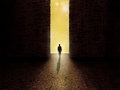 Man Standing On The Border Of Darkness And Light Stock Photos - 69974463