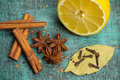 Spices And Herbs. Food, Cuisine Ingredients, Cinnamon, Clove, Anise, Lemon Royalty Free Stock Image - 69975966