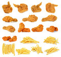 Fried Chicken Isolated On The White Background Royalty Free Stock Image - 70006096