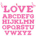 Brightly Colored Romantic Alphabet With Love Inscription Made Of Small Vivid Heart Shapes In Mosaic Style. Stock Photos - 70012253