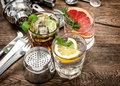 Fruit Drinks Cocktail Bar Tools, Shaker, Glasses Vintage Royalty Free Stock Photos - 70031168