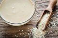 Bowl Of Tahini With Sesame Seeds Stock Images - 70031244