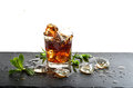 Glass Of Cola Drink With Ice And Mint Leaves Stock Photography - 70031252
