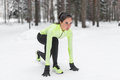 Sportive Athlete Woman Sprinter Ready To Run Waiting For The Start Running Position Fitness, Sport, Training Royalty Free Stock Photography - 70032867