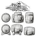 Wooden Barrel Set And  Rural Landscape With Villa, Vineyard Fields, Hills, Mountains. Black And White Vintage Vector Illustration Stock Images - 70044544