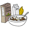 Bran Cereal With Bananas And Soy Milk Royalty Free Stock Images - 70046579