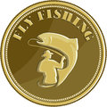 Fly Fishing Gold Coin Retro Stock Images - 70049894