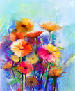 Abstract Floral Watercolor Painting Stock Images - 70055084