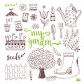 Hand Sketch Set Of Garden Doodle Elements - Seed Packets, Tools,  Tree And Watering Can Stock Photography - 70062782