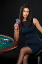 Sexy Woman With Poker Cards And Chips Stock Photography - 70099522