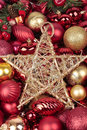 Red Christmas Balls And Gold Star Stock Images - 7011794