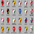 Championship Cup Euro 2016 France Participant Countries Set Of Icons. National Flag Cups. Prize For Game. Golden Award. Euro Footb Stock Image - 70103381