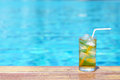 A Glass Of Ice Tea At Pool With Vintage Filter Background Royalty Free Stock Photos - 70113908
