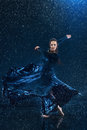 The Young Beautiful Modern Dancer Dancing Under Water Drops Royalty Free Stock Images - 70131529