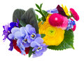Posy Of Violets, Pansies And Ranunculus Stock Photo - 70134970